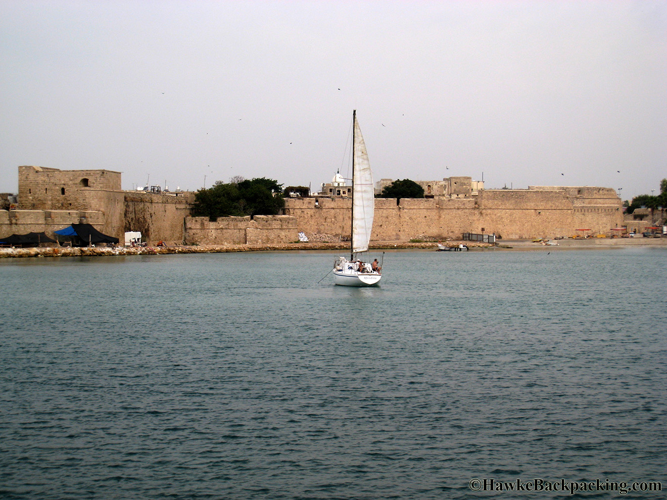 Acre Israel  City new picture : Harbor fortification remains. Sailing in the harbor.