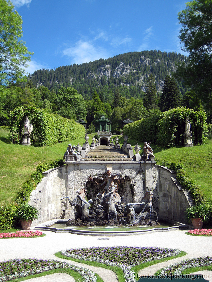 Fussen Germany  city photos : Looking out at the castle backyard. Fountain.